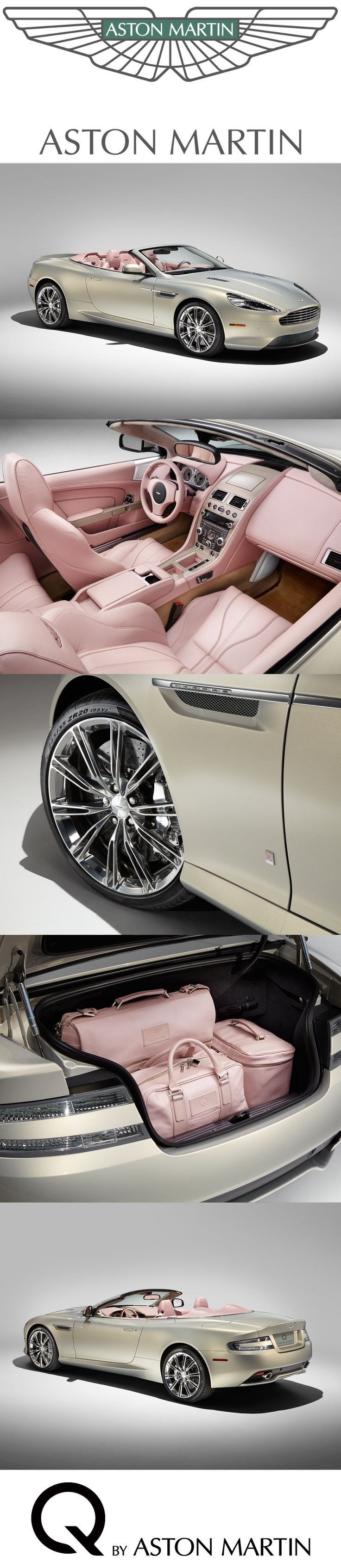 A bespoke commission to be showcased at Pebble Beach®️️ Automotive Week 2014. This luxurious Q DB9 Volante is inspired by fashion and given a distinct character by its special blush pearl leather interior paired with a coolness of Piano Ice Mocha seen on full waterfall with matching door grabs. | RUSSELL & GERRI'S CARS