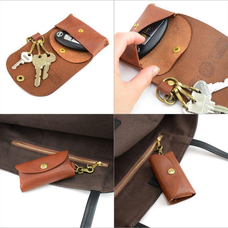 バニラレザーキーケース しっかりとした厚みと弾力のある姫路産フルタンニン革を使用したナチュラルな袋縫いのポーチ付きキーケース!BAGGY PORT バギーポート。キーケース 小銭入れ付き BAGGY PORT バギーポート