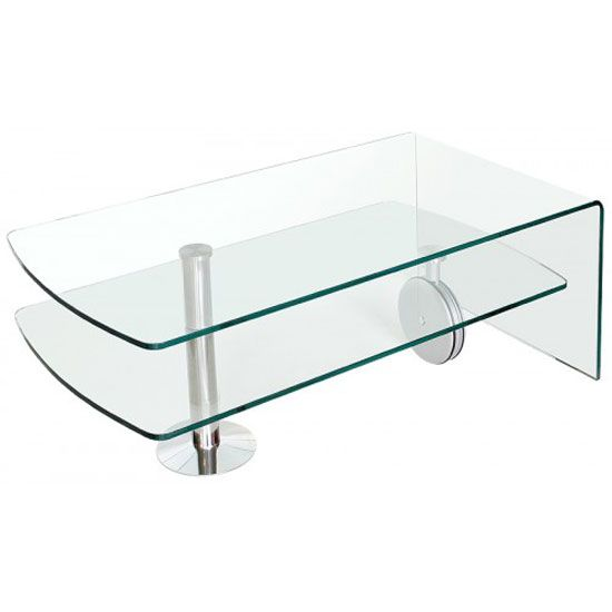 Teeside 2 Tier Clear Glass Coffee Table With Wheels FW822