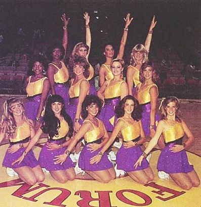 Paula Abdul, L.A. Lakers Cheerleader, 1985, they look like they're in guard uniforms.