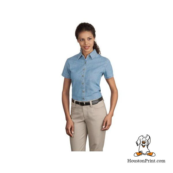 Port & Company - Ladies Short Sleeve Value Denim Shirt. LSP11 Learn more at: http://embroidery-houston.adaprint.com/index.php?id_product=158&controller=product