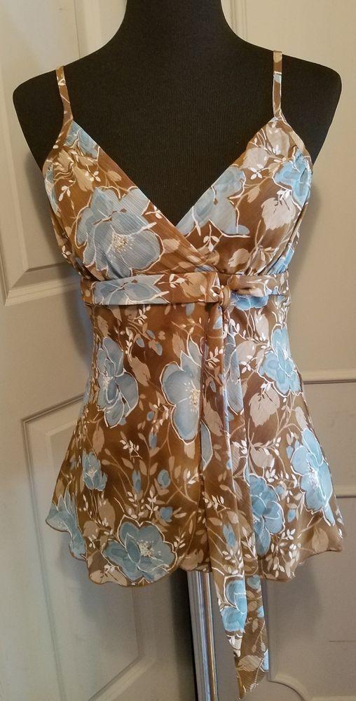 BCX Brown Blue V Neck Sun Top Shirt Career Lined Size M Flowers Spaghetti Straps #BCX #Blouse #Career