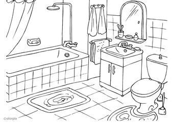 El baño Kleurplaat badkamer