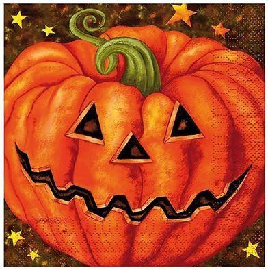 20 halloween servetjes bedrukt met enge halloween pompoenen. Deze stoere servetjes zijn 33cm x 33cm en passen natuurlijk perfect bij een leuk halloween of griezel feestje!