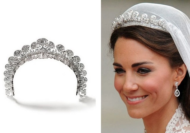Kate Middleton's Cartier tiara given to her by Queen Elizabeth II. It was given to Queen Elizabeth by her mother.