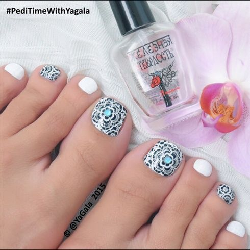 Lace Toe Nail Art  by Yagala from Nail Art Gallery