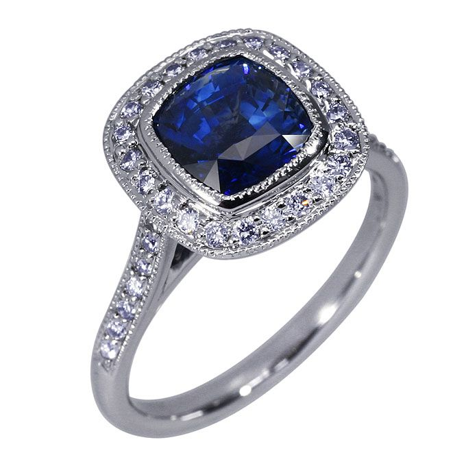 14k white gold and diamond ring with cushion cut sapphire 11995 diamond idealssee - Colored Wedding Rings
