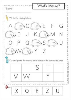 letter a homework for kindergarten missing alphabet letters cut and paste autumn fall 13066
