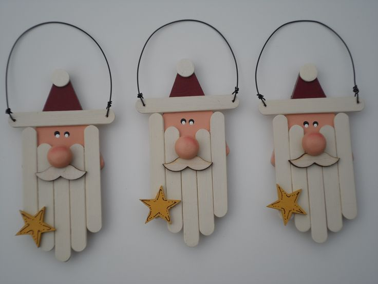 Love these wood triangle Santas with mini-popsicle stick beards. Plus