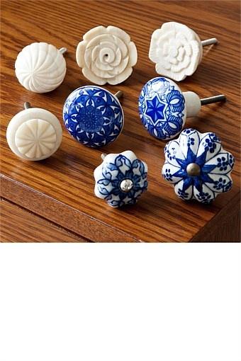 Decorative Accents - Blue White Knob - EziBuy New Zealand