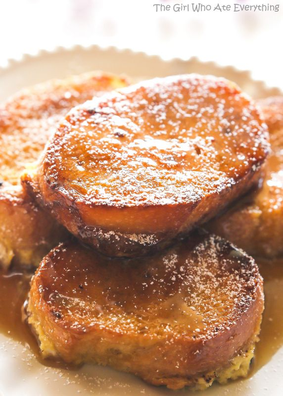 French Toast - bread soaked overnight in an eggnog mixture and baked ...