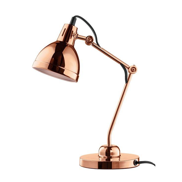 Luminária de Mesa Articulada Cobre em Metal - 44x13,5 cm