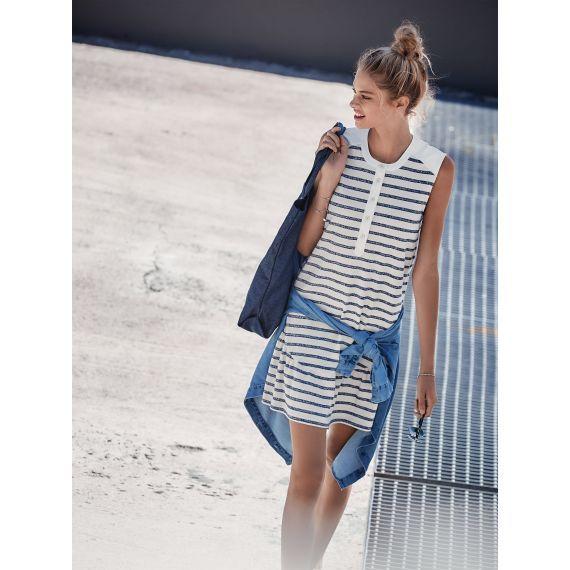 Kleid mit Schößchen in cremefarbenen und blauen Finish