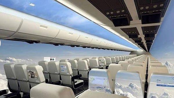Simulación de las cabinas del avión transparente diseñado por los investigadores británicos.
