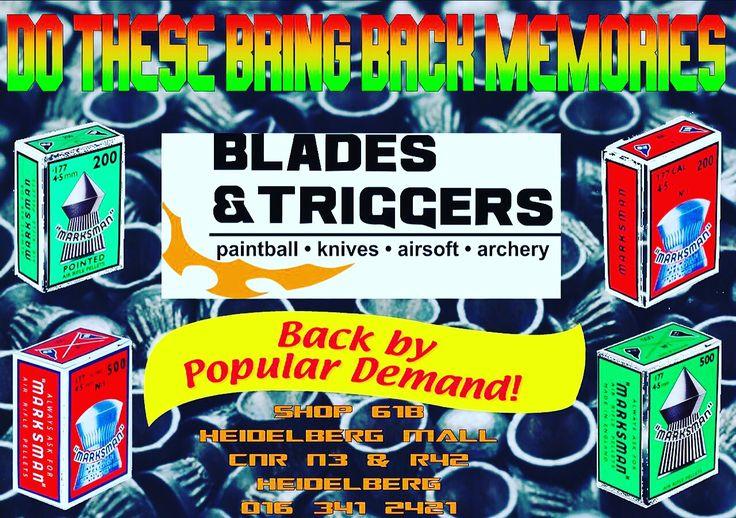 #marksman #bnt #bladesandtriggers #heidelbergmall #heidelberg #pellets #airrifles #pelletguns #oldtimesakes #original #targetpractice #memories #pointed #round #goodolddays #fun #awesome #backintheday #2016 #popular #backbypopulardemand #bntonline #september