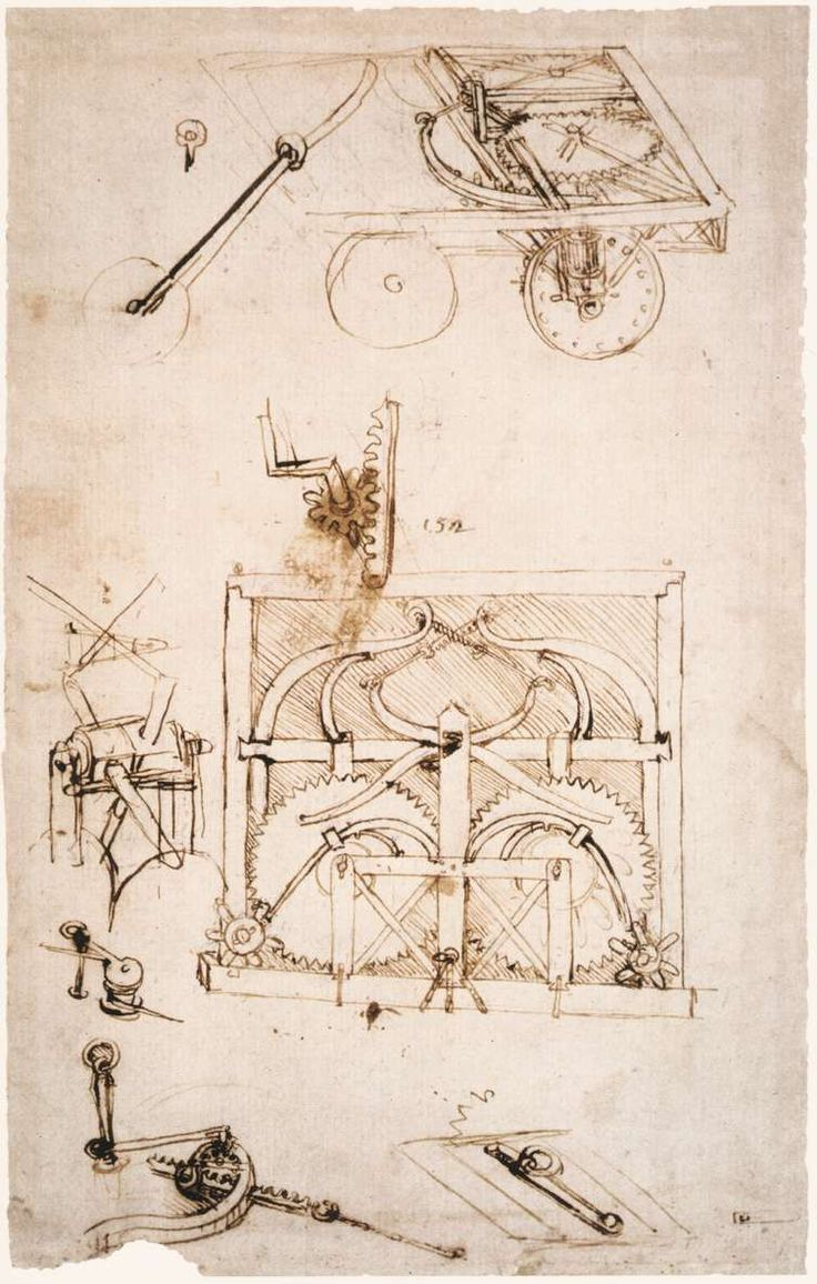 Automobile, 1480 - Leonardo da Vinci sketches. | Steampunk inspiration
