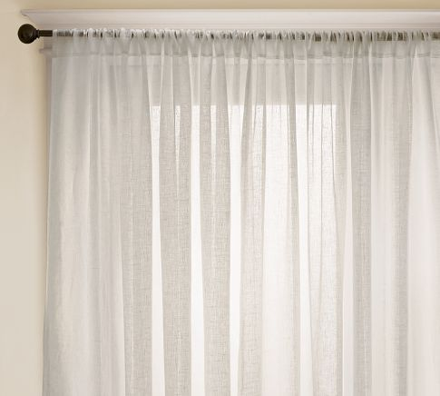 I like these sheers on a simple rod for the bedroom.  Linen Sheer Drape | Pottery Barn