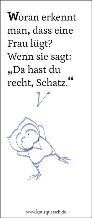 Frauen, Lüge, Kauz, Eule, Cartoon, Humor, Satire, Sprüche