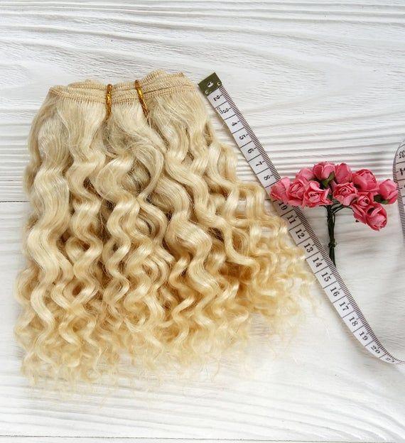 coarse mohair weft  Blond, jerry curly, dollmaking, curly hair golden blonde Blythe, BJD, Monster ev