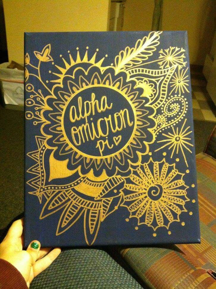 Cute alpha omicron pi canvas