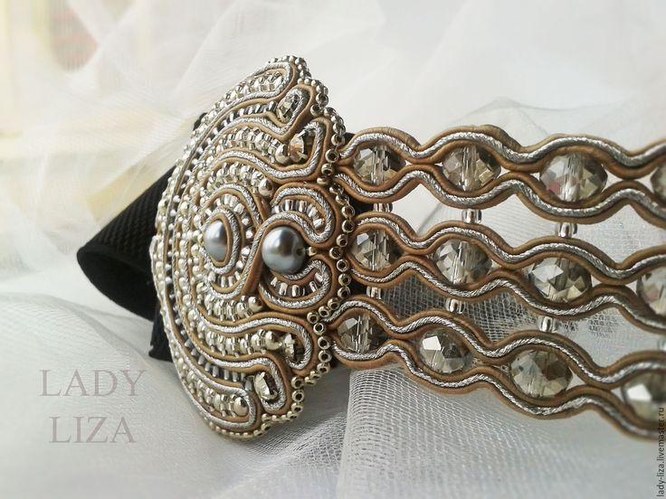 Купить Сутажный пояс на резинке Art Deco бежевый серебряный черный - пояс с вышивкой