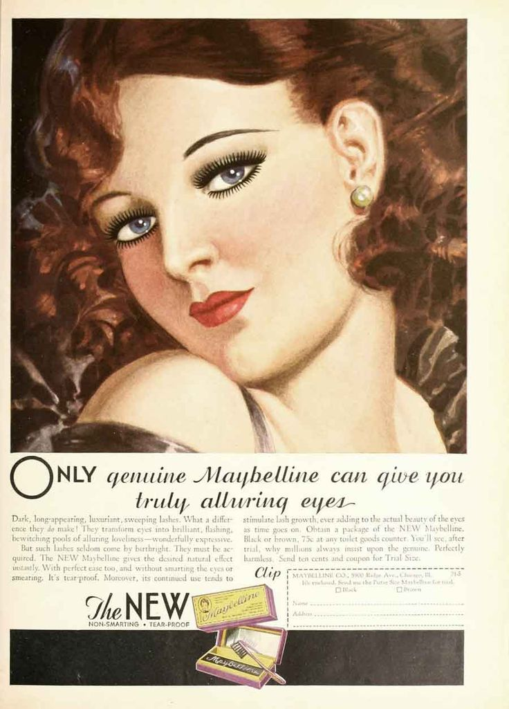 930sMaybellineMascaraadvert. 1930s Makeup Pinterest