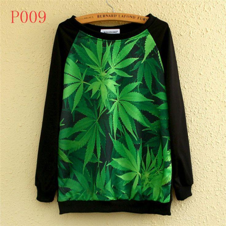 18 Model 2014 New Style Beautiful 3 D Green Leaves/Animal Printing Women Hoodies Thin Round Collar Women's Sweatshirts Tops