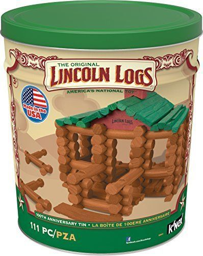 Lincoln Log Wood Pieces Building Blocks Anniversary Tin Memories Remember Kids #KNex