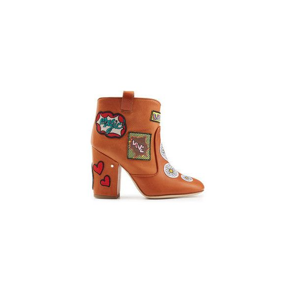 Leather Ankle Boots with Logo Patches Laurence Dacade (1 405 AUD) ❤ liked on Polyvore featuring shoes, boots, ankle booties, leather ankle booties, leather cowgirl boots, tan booties, ankle boots and tan leather booties