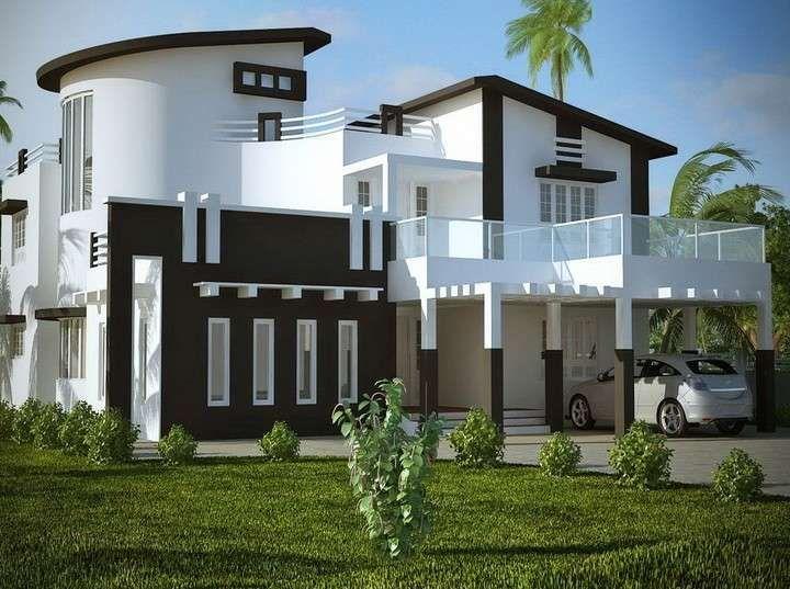 Esterni bianco con tocchi di marrone - Esterni bianco con tocchi di marrone per villa in stile moderno