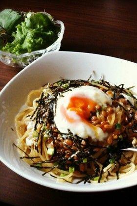 大根おろしと納豆のパスタ grated daikon radish natto pasta