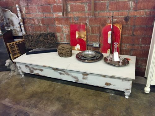 Reclaimed Wood Shabby Chic Coffee Table With Cast Iron Feet $285 Dallas  Vintage Market Booth #