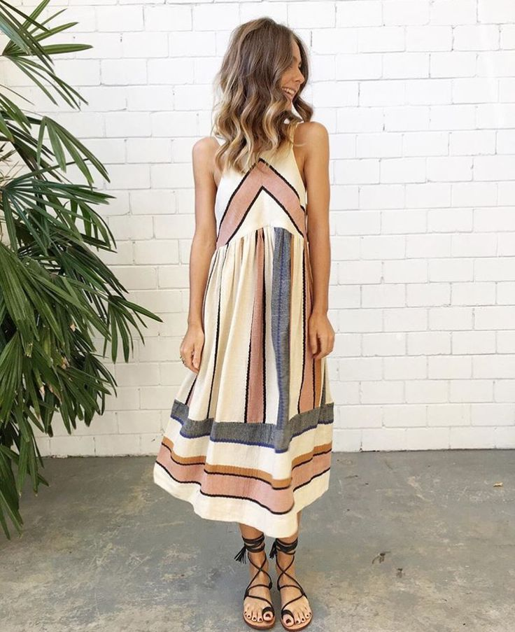 Boho sundress in neutral colors. Perfect for summer nights