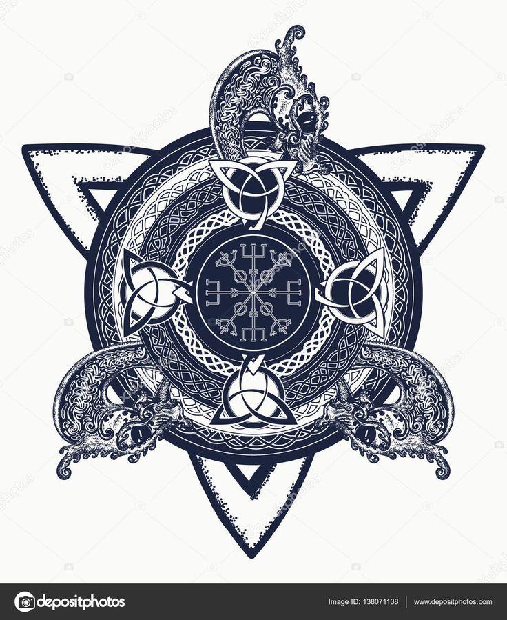 Кельтский крест тату искусства и футболку дизайн. Драконы, символ — стоковая иллюстрация #138071138