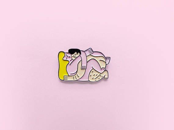 couple enamel pin kiss enamel pin lapel pin grl power gift