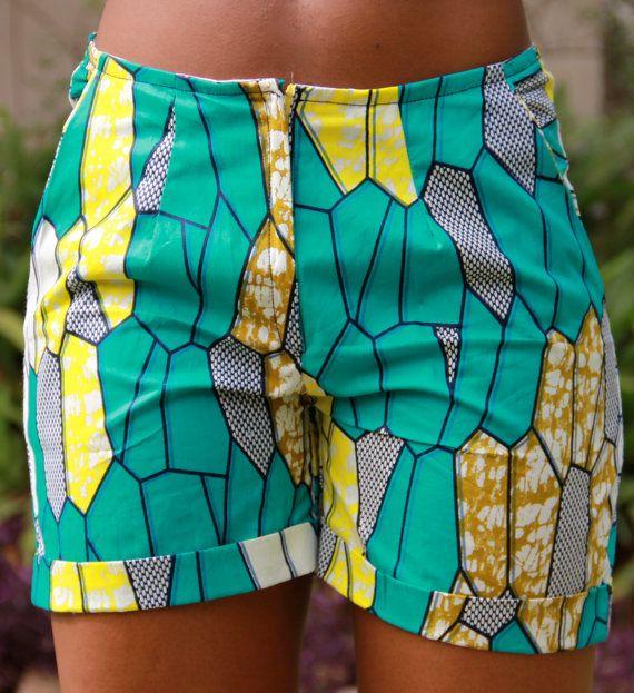 African Print Shorts by ifenkili on Etsy, $30.00