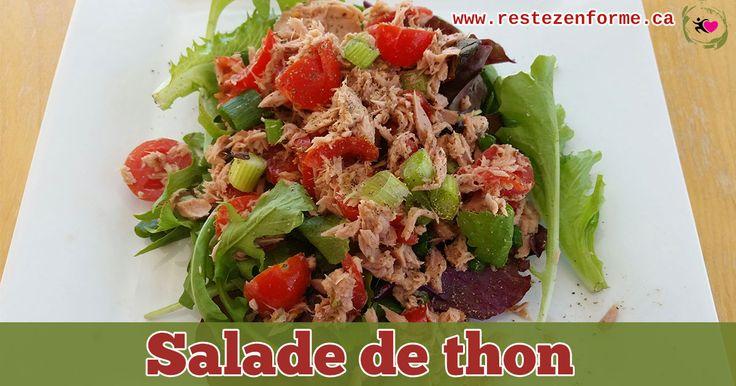 Voici ma salade préféré à base de thon que j'adore apporter au travail. Vous pouvez l'accompagner d'un petit pain pita de blé entier pour un lunch complet ouy incorporer 1/2 tasse d'édamamé, de quinoa ou de coucous. Mélange du thon: 1 canne de thon dans l'eau 1 c. à thé d'huile d'olive extra-vierge 1 c. à soupe de ...