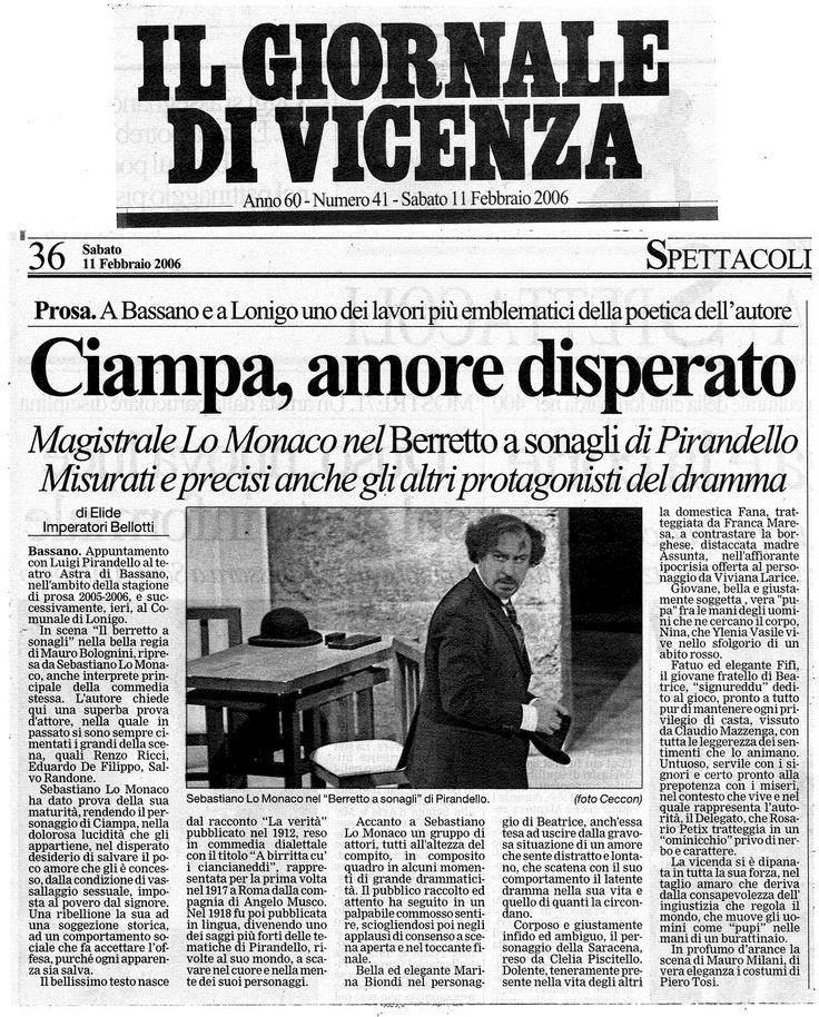 """11 febbraio 2006 - Il Giornale di Vicenza su """"Il Berretto a Sonagli"""""""