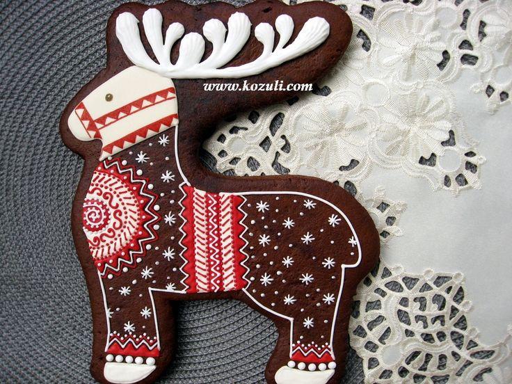 Новогодние пряники, новогоднее печенье, рождественское печенье, рождественские пряники. Северный олень, большой, 20х25см