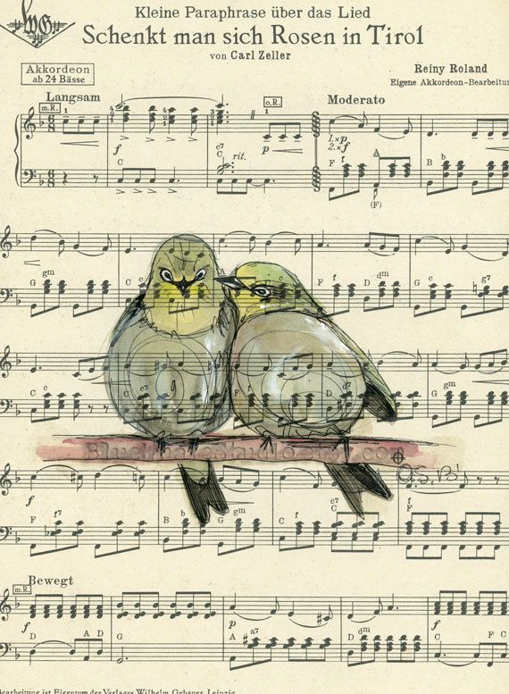 Song for a Bird Original Watercolor by BlueWhaleArtStudio on Etsy, $50.00