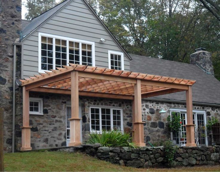Red Cedar Free Standing 4-Beam Pergolas; no middle post needed  for span of 16' or less