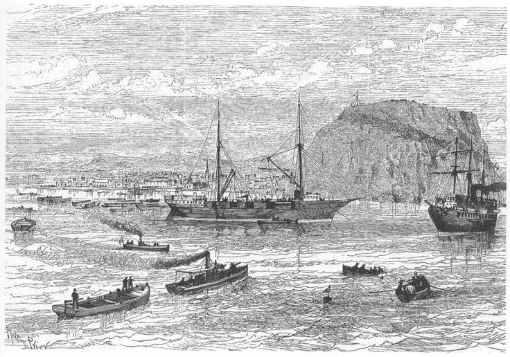 El Galicia frente al Morro de Arica publicado en el London Illustrated News del 9 de Agosto de 1890. Reportaje a Chile Dibujos de Melton Prior y Cronicas de The Illustrated London News 1889-1891.