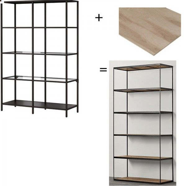 project replace the glass shelves in ikea 39 s vittsjo shelving unit with rustic wood ones i. Black Bedroom Furniture Sets. Home Design Ideas
