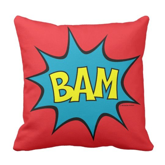 Bam Pow Throw Cute Decorative Pillow  for kids room #decorative #pillows #cute #kidsroom