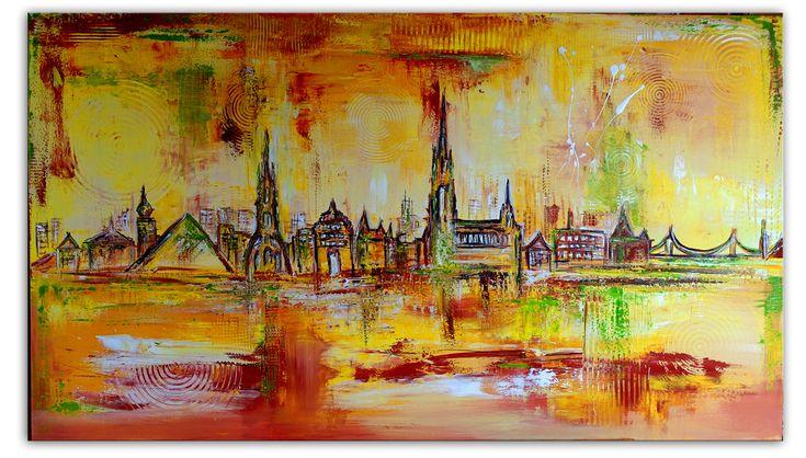 Ulm 5 Skyline Mediterranes Stadtbild - Skyline gemalt querformat