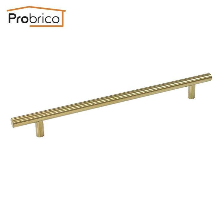 Probrico 100 Pcs Gold Stainless Steel Cabinet Handle Diameter 12Mm Hole To Hole 224Mm Drawer Knob Pull Pd1123Hgd224