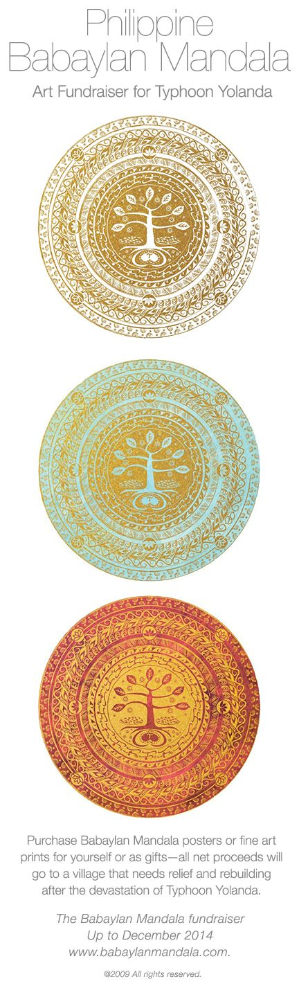"This is a Babaylan Mandala Art piece.The Mandala is used as mediation to return to ""Loob"" or ""higher power"". It represents your journey from birth to enlightenment. These Mandalas & their symbols of the 4 elements & baybayin scripts represent reclaiming of the Filipinos' Inner Gold. Weaving enlightened perspectives w/ beloved traditions. #yolandPH #typhoonhaiyan #bagongpinay #newfilipina #perladaly"