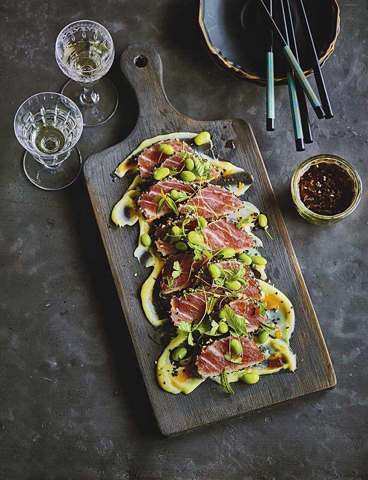 Sesame tuna tataki with wasabi and edamame