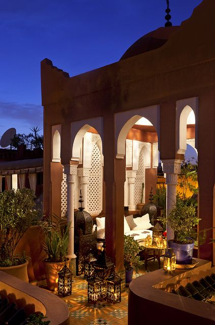 A riad is a traditional Moroccan palace or large home. Today, many riads have been turned into hotels or restaurants. Riad Kaïss in Marrakech.