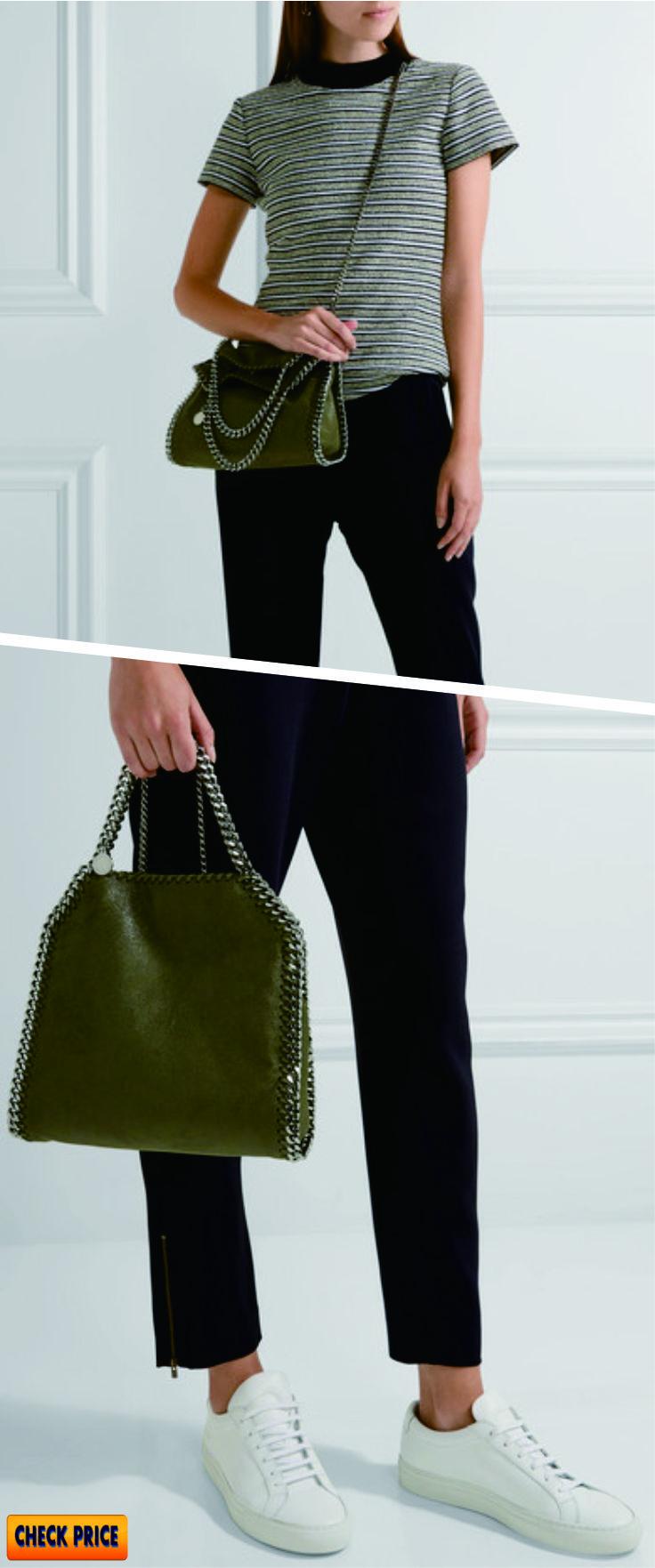 Stella McCartney - Falabella Mini Faux Brushed-leather Shoulder Bag - Army  green 7f22115f705cf